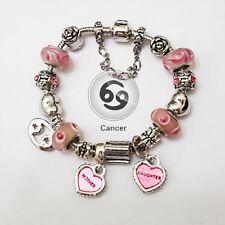 Stylish CANCER Zodiac Pink Murano Mother & Daughter Heart Charm Bracelet