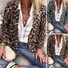 ZANZEA Women Open Front Leopard Print Blazer Cardigan Turn Down Collar Coat Plus