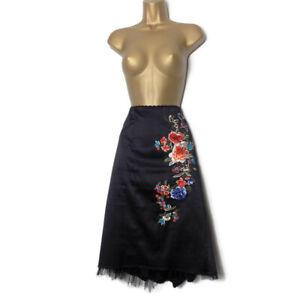 KAREN MILLEN Embroidered A-line Skirt Size 12 Black Satin Floral Pencil Vtg M