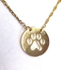 """Sweet! Solid 14K Yellow Gold Dog Cat Paw Charm Pendant Necklace 18""""-20"""" Chain"""