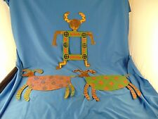 Vtg Outsider art 3 hand crafted metal colorful paints animals primitive signed