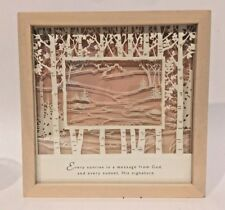 "Framed 3-D Poetry Reverse Painting onGlass 8 in Sq ""Sunrise Message From God..."""
