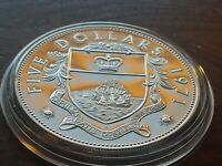 Rare Classic Low Mintage  Proof .925 SILVER 1971 BAHAMAS $5 DOLLARS w HOLDER