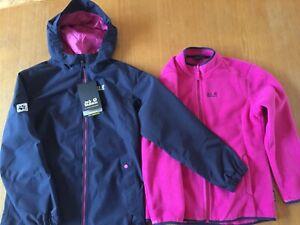 Jack Wolfskin girls' Iceland 3-in-1 jacket coat with hood & fleece, 11-12, BNWT
