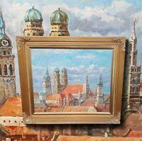 Ansicht von München mit Frauenkirche.  Original Ölgemälde im Prunkrahmen. TOP