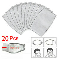 20 Pcs Outdoor PM2.5 Activated Carbon Filter Face Cover Breathing Insert Filter