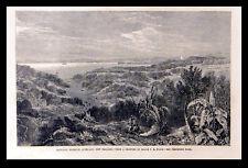 Manukau Harbour, Auckland, Nouvelle-Zélande 1863 F. R. STACK Victorienne Gravure