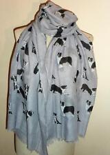 Border Collie Sheep Dog Large Wrap Scarf 8 colours Cotton Blend