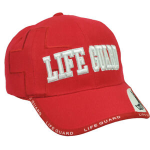 Lifeguard Life Guard Beach Patrol Red Adjustable Mens One Size White Cap Hat