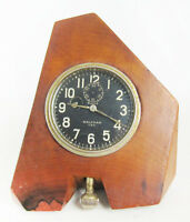 Unique Mid-Century Waltham 8 Day Clock Mounted In Modernist Designed Wooden Case