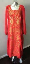 Metallic Gold Embroidered Chiffon Poet Slv Caftan Long Red Linen Party Dress L