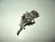 Vintage Silvertone & Clear Rhinestone Celtic Scottish Thistle Kilt Brooch Pin
