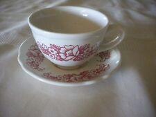 Vintage Homer Laughlin Restaurant Ware Cup & Saucer Rose Floral Design