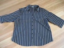 LADIES BLACK & GREY 3/4 SLEEVE BUTTON DOWN POLYCOTTON TOP BY EXPRESSION- SIZE 18
