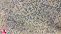 Home Decor Heavy Upholstery Brown Blue Patterned Fabric by the Yard
