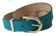 Auth GUCCI Women's Diamante Leather Belt Sz 40/100 ~ Teal / Gold ~ NWT