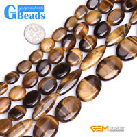 """Natural Tiger's Eye Gemstone Oval Beads For Jewelry Making Free Shipping 15"""""""