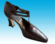 80s Unworn $450 Comcedia Handmade Italian Heels 9 39.5 Brown Double T-Strap