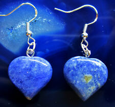 Earrings Earring Heart Sodalite Stone Blue with Hooks of the Silver 925
