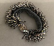 BRACELET 925 Sterling Silver CLAPS WITH CITRINE ? /Soft / Flexible / Braided/