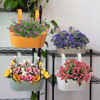 Flower Pot Hanging Balcony Garden Fence Plant Metal Iron Planter Bucket Decor AU