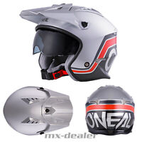 2020 O'Neal Volt V1 Helm mit Visier Silber Trial Roller Enduro Supermoto Quad