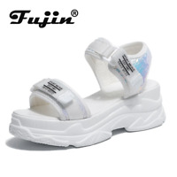 Fujin High Heeled Sandals Female Summer 2020 Women Thick Bottom Shoes Wedge with