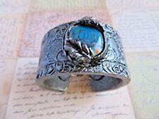 Polymer Clay Statement Wide Cuff Silver Antique Art Nouveau Women Bracelet