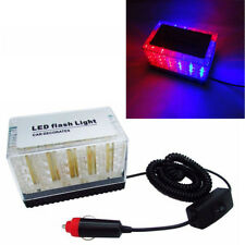 Car 48 LED Red & Blue Police Roof Flashing Strobe Emergency Top Light 12V New