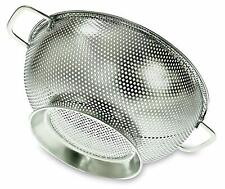 Stainless Steel Colander Strainer Kitchen 3 Qt Large Base Metal Cooking Utensil
