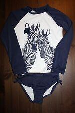 NWT Gymboree Swim Shop 2014 Size 5 Set Black White Zebra Rashguard Swimsuit