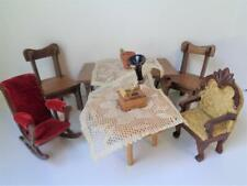 Antique Vintage Dollhouse Furniture VICTORIAN Style Wood Upholstered Chair Table