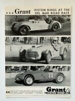 RARE VINTAGE Ad - 1952 GRANT PISTON RINGS - DEL MAR RACE CAD-ALLARD SIMCA MG TC