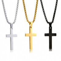 Mens Womens Silver Gold  Stainless Steel Cross Necklace Pendant Chain Choker