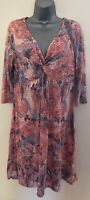 Per Una Pink & Blue Floral 3/4 Length Sleeve Twist Front Dress Size 14