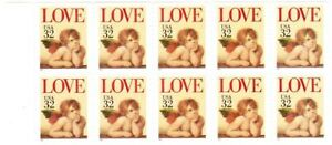 1995 Scott #2959 Raphael's Cherub Love USPS 32¢ 10 Stamp booklet pane perforated