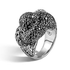 John Hardy Classic Chain Silver Lava Large Braided Ring with Black Sapphire 7
