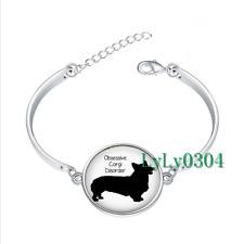Obsessive Corgi Disorder glass cabochon Tibet silver bangle bracelets wholesale