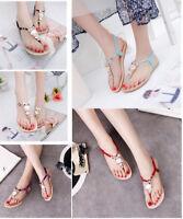 US Women BOHE Buckle Flat Shoes Sandals Beach Owl Thong Slippers Flip Flops