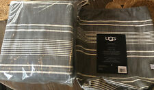 UGG bayside King Duvet Charcoal gray striped nwt Msrp $179.99