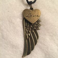 Bronze Love Heart Wing Charm Pendant Long Adjustable Cord Necklace Gift