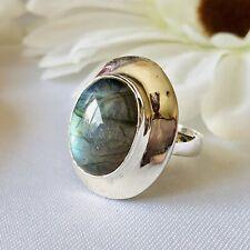 Labradorite 925 Sterling Silver Ring Size P