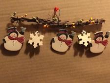 Wooden  Christmas Ornament Snowflake SNOWMAN face snowmen decor sign