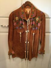 Fabulous Beaded Buckskin Leather Shirt Jacket With 14 Elk Tooth Buttons Size L