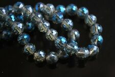 72pcs 8mm Round 96 Facets Findings Crystal Glass Loose Spacer Beads