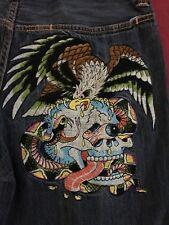 Ed Hardy Christian Audigier Eagle Skull Embroidered Denim Jean Shorts Mens 34