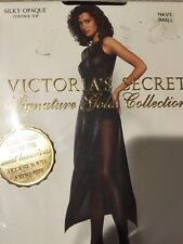 New Victoria's Secret Signature Gold Collection Hosiery Silky Opaque Navy Small