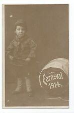 BM840 Carte Photo vintage card RPPC Enfant garçon déguisement carnaval 1914