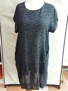 NEW LADIES ITALIAN COTTON FLORAL PRINT SHORT SLEEVE POCKET TUNIC DRESS