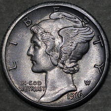 1916-S Mercury Dime 10C - Gem Uncirculated - Full Bands FB - Rich Toning